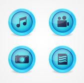 Conjunto de ícones multimídia lustrosos — Vetor de Stock