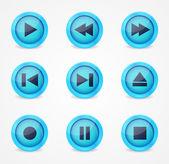 Media player glossy buttons-auflistung — Stockvektor