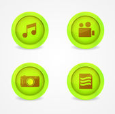 Set of glossy multimedia icons — Vector de stock