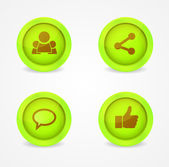 Set of glossy social icons — Stock Vector
