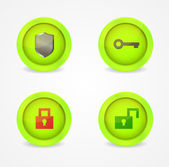 Set of glossy security icons — ストックベクタ