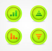 Financial graph set on glossy icons — Stock Vector