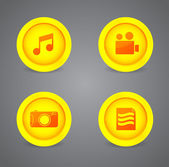 Set of glossy multimedia icons — Stok Vektör