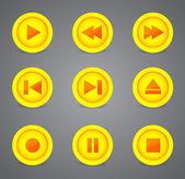 メディア プレーヤーの光沢のあるボタン コレクション — ストックベクタ