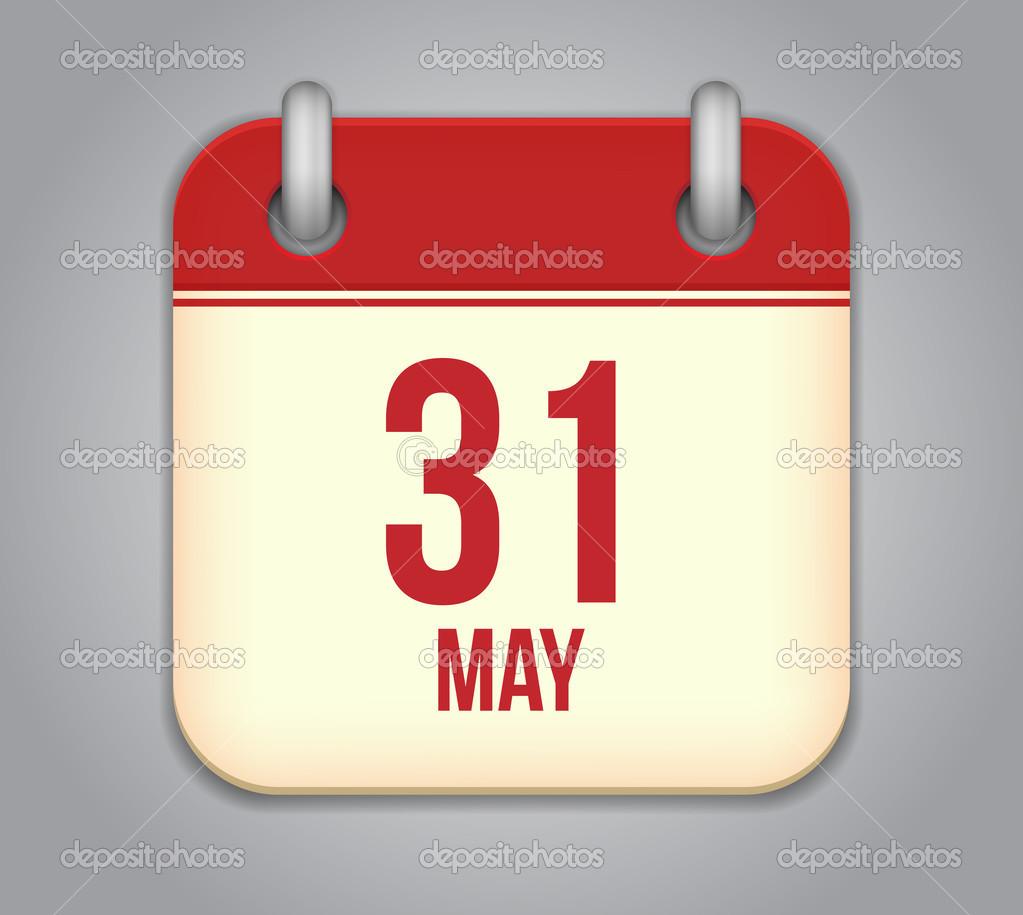 Calendar May Icon : Vector calendar app icon may — stock astartu