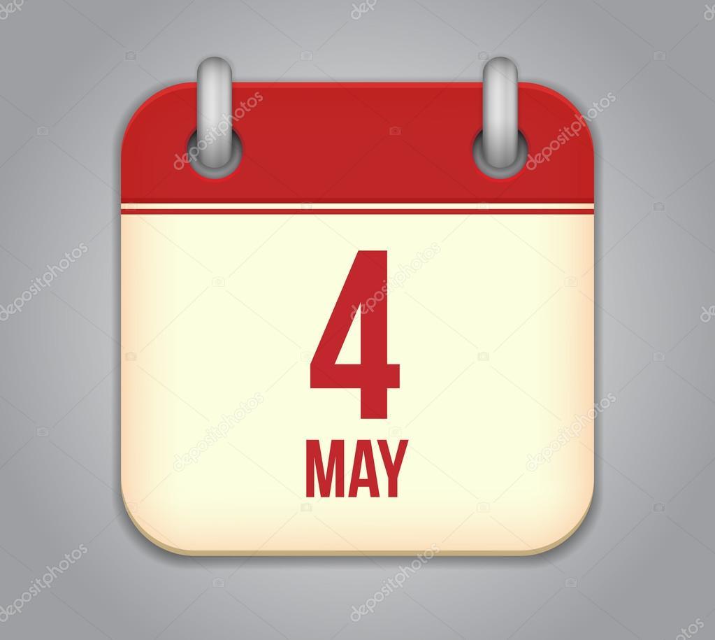 Icône de l'application Calendrier Vector. 4 mai — Image vectorielle ...
