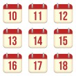 Vector calendar app icons. 10 to 18 days - Stock Vector