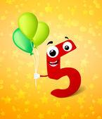 Fifth birthday greeting card — Stock Vector