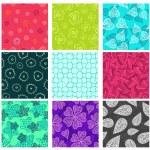 Seamless doodle patterns set — Stock Vector