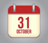 Vector October calendar app icon — Stock Vector