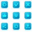 Set of blue internet icons with reflection — Stock Vector