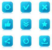 Sada modré ikony internet s odleskem — Stock vektor