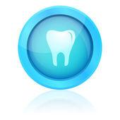 Blue vector tooth button — Stock Vector