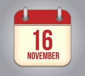 Vector November 16 calendar app icon — Stock Vector