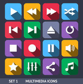 Multimedia Vector Icons With Long Shadow Set 1 — Stock Vector
