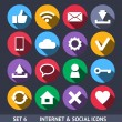 Internet and Social Vector Icons With Long Shadow Set 6 — Stock Vector
