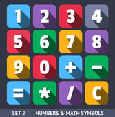 Numbers and Mathematic Symbols. Vector Icons With Long Shadow Set 1 — Stock Vector