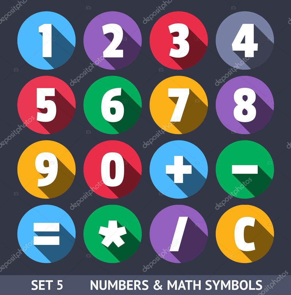 数字和数学符号.矢量图标与长长的阴影设置 5