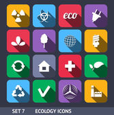 Ecology Vector Icons With Long Shadow Set 7 — Stock Vector