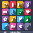 Medical Vector Icons With Long Shadow Set 9 — Stock Vector #29992325