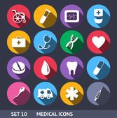 Medical Vector Icons With Long Shadow Set 10 — Stock Vector