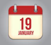 Vector calendar app icon. 19 January — Stock Vector