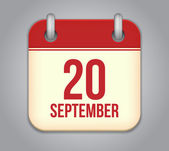 Vector calendar app icon. 20 september — Stock Vector