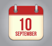 Vector calendar app icon. 10 september — Vector de stock
