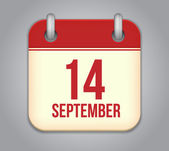 Vector calendar app icon. 14 september — Vettoriale Stock