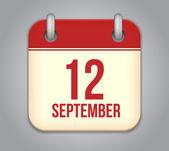Vector calendar app icon. 12 september — Stock Vector