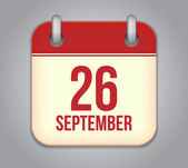 Vector calendar app icon. 26 september — Cтоковый вектор