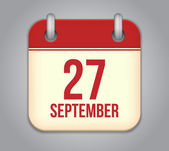 Vector calendar app icon. 27 september — Vector de stock