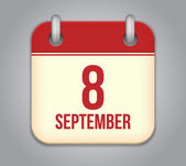 Vector calendar app icon. 8 september — Vector de stock
