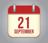 Vector calendar app icon. 21 september — Stock Vector