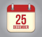 Icône de l'application calendrier vector. 25 décembre — Vecteur