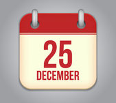Vector calendar app icon. 25 December — Stockvektor