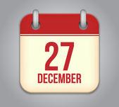 Vector calendar app icon. 27 December — Stock Vector