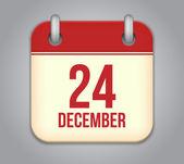 Vector calendar app icon. 24 December — Stock Vector