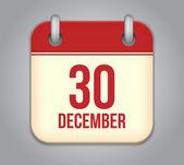Vector calendar app icon. 30 December — Stock Vector