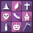Halloween flat vector icons with long shadow. Set 2 — Stock Vector