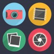 Photography icons with long shadow. Set 2 — Stock Vector