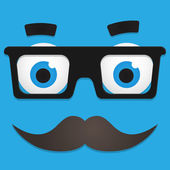 Vector Hipster Avatar with Geek Glasses And Mustache — Stock Vector