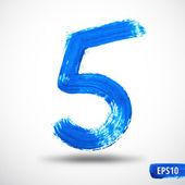 Watercolor Five Number. Grunge Background — Stock Vector