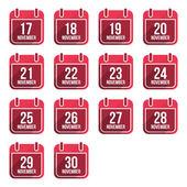 November vector flat calendar icons with long shadow. Calendar Days Of Year Set 4 — Stock vektor