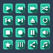 Emerald Multimedia Vector Icons With Long Shadow — Stock Vector