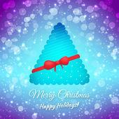 Weihnachtsbaum. Band und Bogen. festliche Vektor Hintergrund verschwommen. Frohe Weihnachten-Grußkarte — Stockvektor