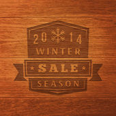 2014 Winter Sale Label On Wood Texture. Vector Background — Stock Vector