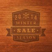 2014 Winter Sale Label On Wood Texture. Vector Background — Stock Vector
