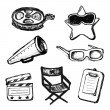 Cinema doodles. Vector icons — Stock Vector