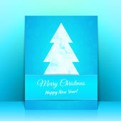 Blue Greeting card background with Christmas tree — Stock vektor